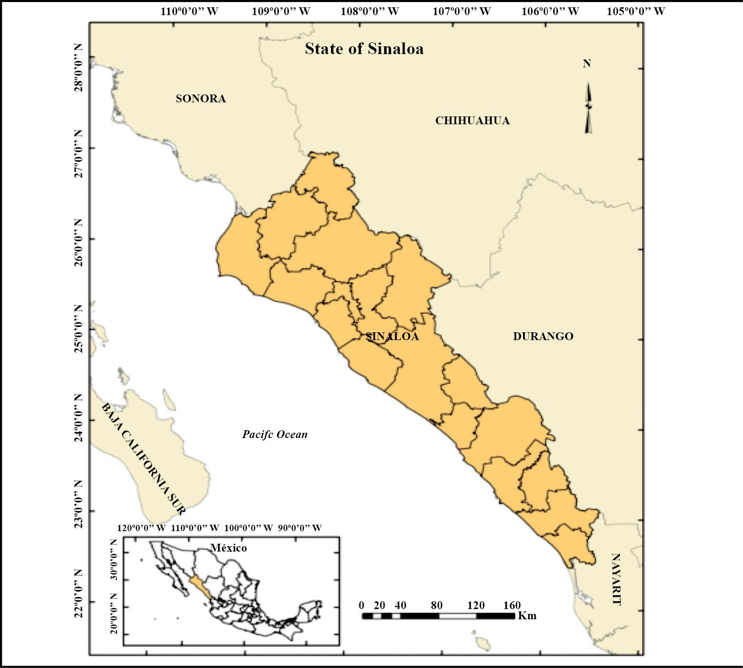 Ubicación geográfica del estado de Sinaloa