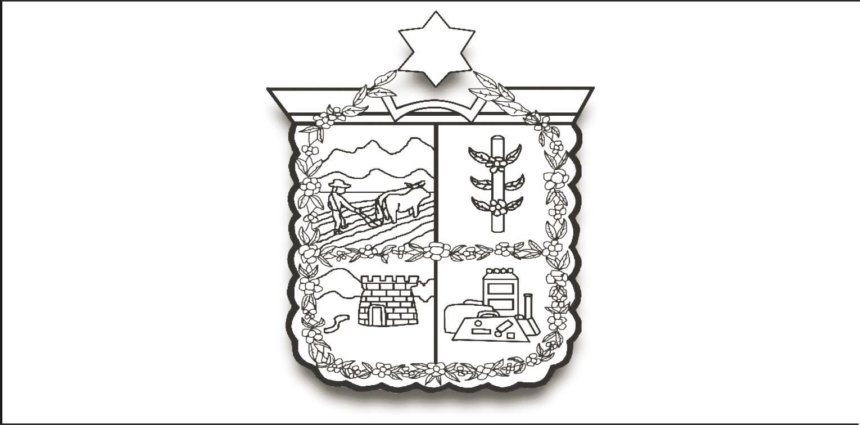 Escudo del municipio de Fortín, Veracruz, en donde se puede observar la cadena o collar con su flor representativa: la gardenia.