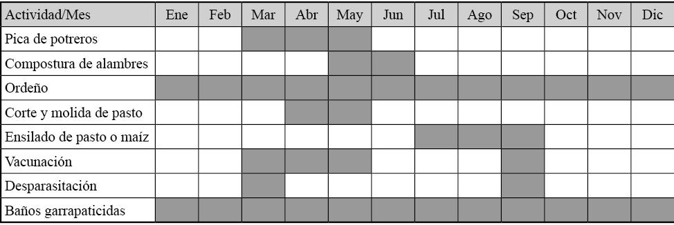 Calendarización de actividades del sistema de producción de ganadería bovina en la comunidad Francisco Villa I