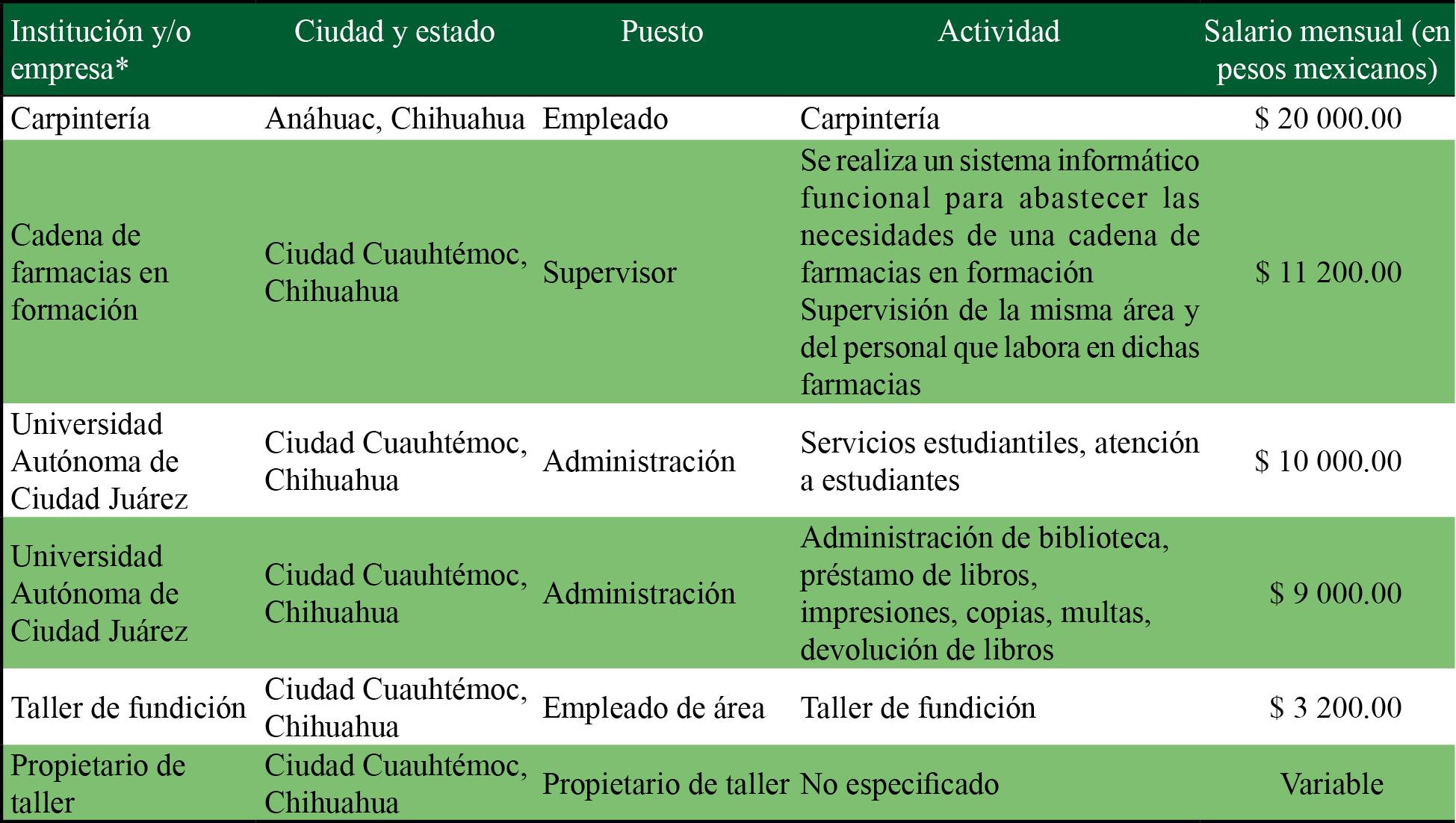 Características laborales de egresados que trabajan en otras áreas diferentes a la geoinformática, 2017