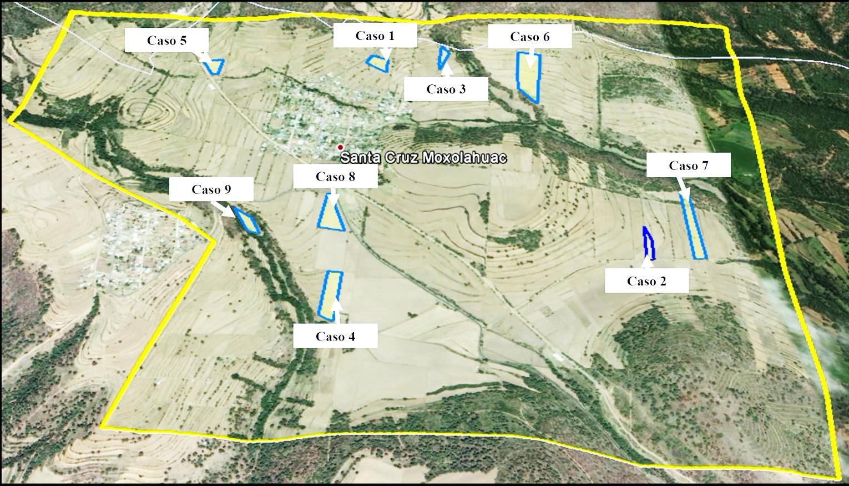 Delimitación del territorio de Santa Cruz Moxolahuac y los nueve casos de estudio