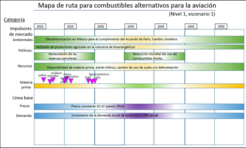 Mapa de ruta para la producción de Bio Jet en México/nivel 1