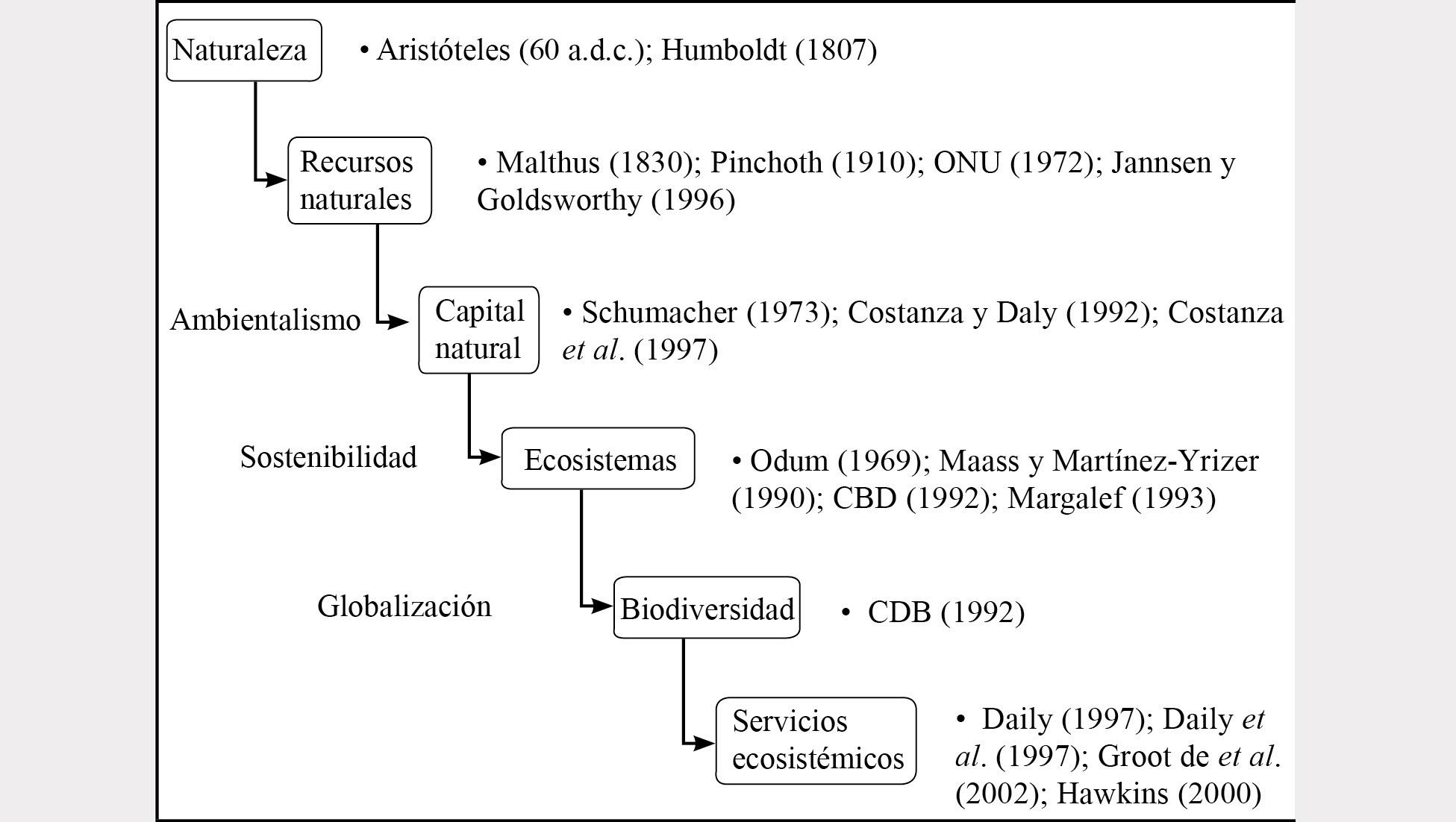 Evolución conceptual del enfoque servicios ecosistémicos